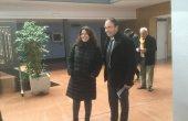 Lluís Verdaguer rep a la presidenta de la Diputació de Barcelona, Mercè Conesa