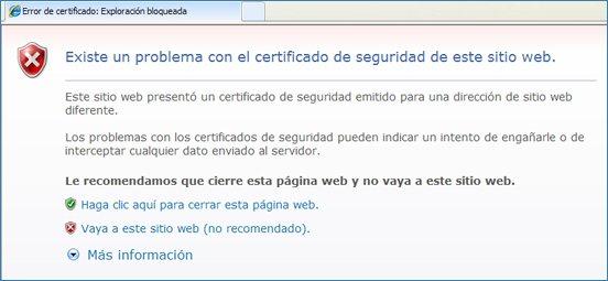 Missatge que apareix amb el navegador Explorer
