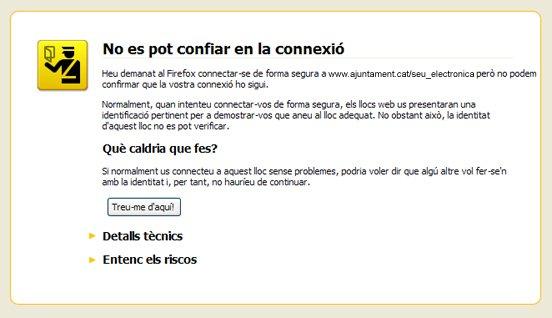 Missatge que apareix amb el navegador Mozilla Firefox.