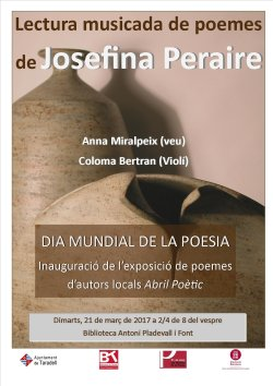 Lectura musicada de poemes de Josefina Peraire i celebració del Dia Mundial de la Poesia