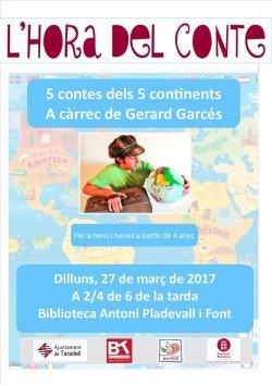 '5 contes dels 5 continents' a càrrec de Gerard Garcés