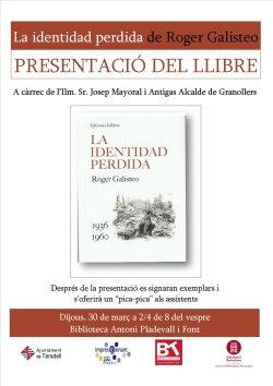 Presentació del llibre 'La identidad perdida' de Roger Galisteo