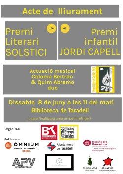 Dissabte, 8 de juny, es farà el lliurament de la 17a edició del Premi Literari Solstici