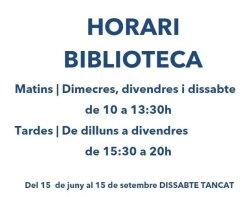 Horari d'estiu a la Biblioteca Antoni Pladevall i Font de Taradell