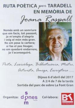 Ruta literària per Taradell inspirada en l'obra de Joana Raspall
