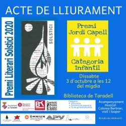 Dissabte es farà el lliurament de la 18a edició del Premi Literari Solstici