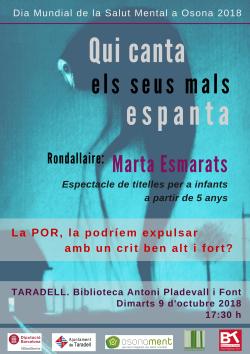 Hora del conte d'octubre dedicada a la Salut Mental: 'Qui canta els seus mals espanta' amb Marta Esmarats