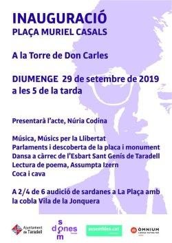 Cartell inauguració placeta Muriel Casals