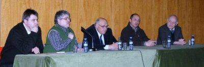 Josep Casassas dels Tonis de Taradell, Josep Miret del Grup de Recerca, Enric Riera de la Masia Vila-rasa, Santi Ponce de la UVic i Antoni Pladevall, historiador