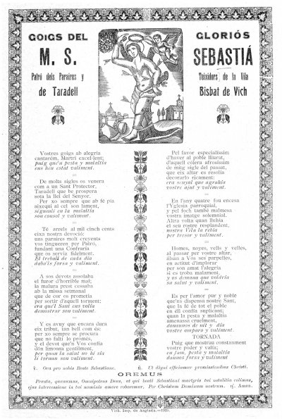 Goigs de Sant Sebastià. 1925