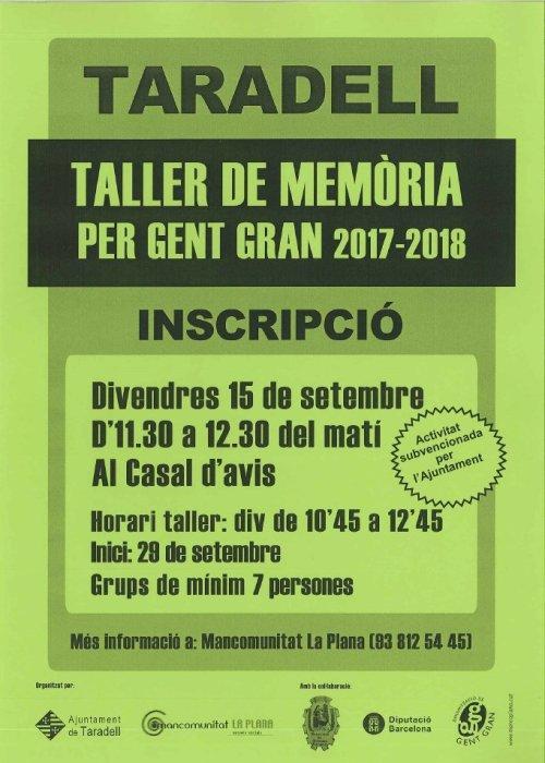 Taller de memòria per gent gran 2017-2018