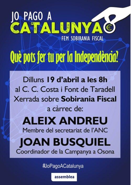 Sobirania Fiscal ANC - Jo pago a Catalunya - Cartell acte de 19 d'abril de 2021
