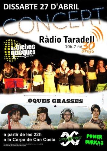 Cartell del concert dels 30 anys de Ràdio Taradell.