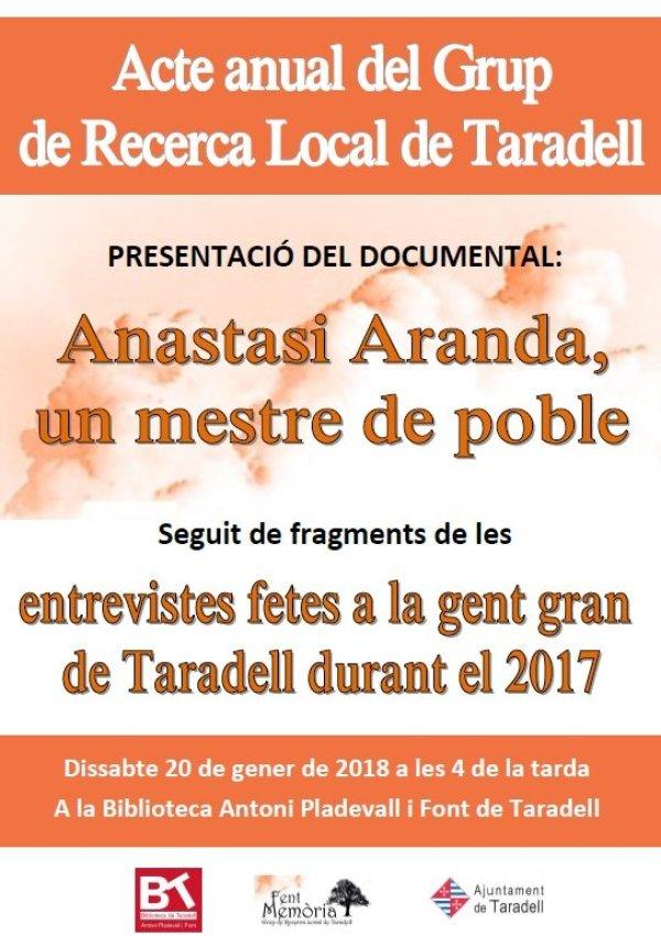 El Grup de Recerca Local de Taradell presenta el documental 'Anastasi Aranda, un mestre de poble'