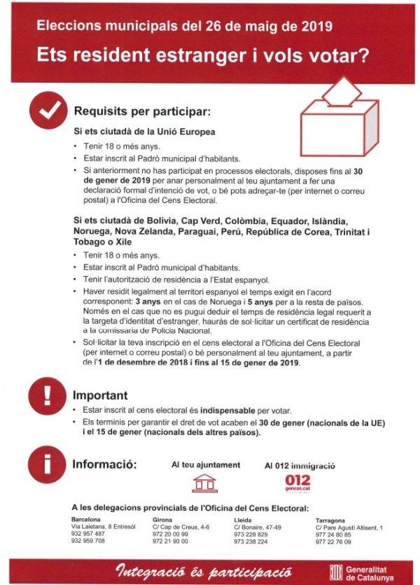 Ets resident estranger i vols votar - Eleccions municipals 2019