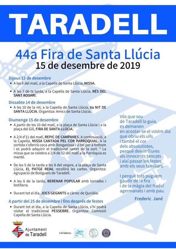 Programa Fira de Santa Llúcia 2019