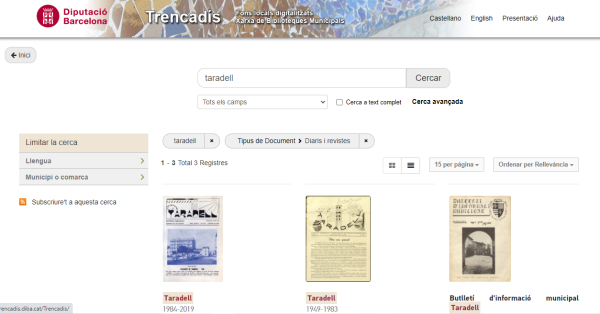 Noves revistes digitalitzades de Taradell al Trencadís