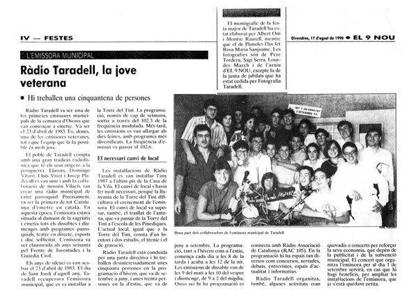 Article sobre Ràdio Taradell a 'El 9 Nou'.