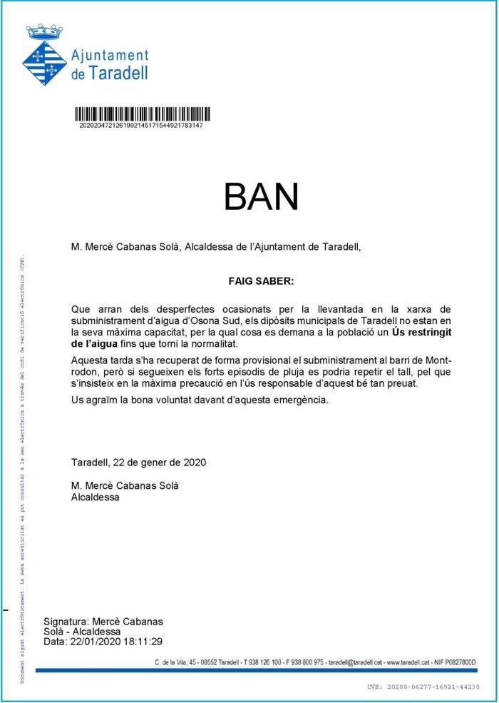 Ban de l'alcaldessa