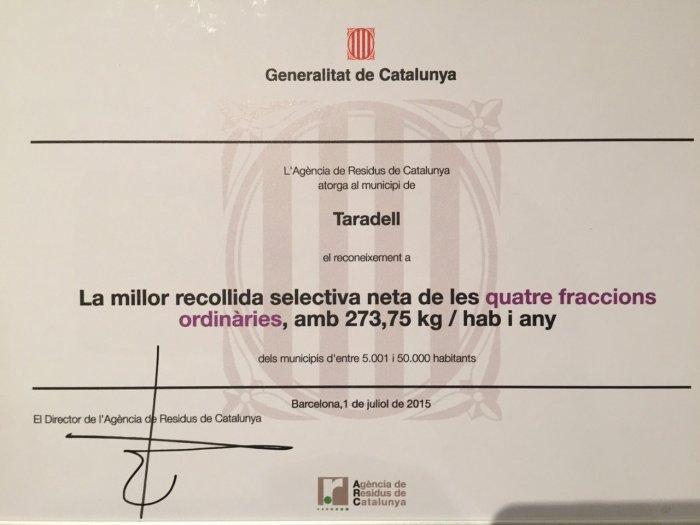 Premi en millor recollida selectiva de Catalunya