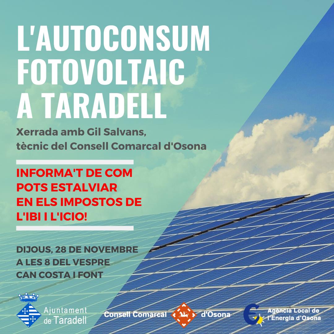Cartell xerrada autoconsum fotovoltaic - Ajuntament Taradell