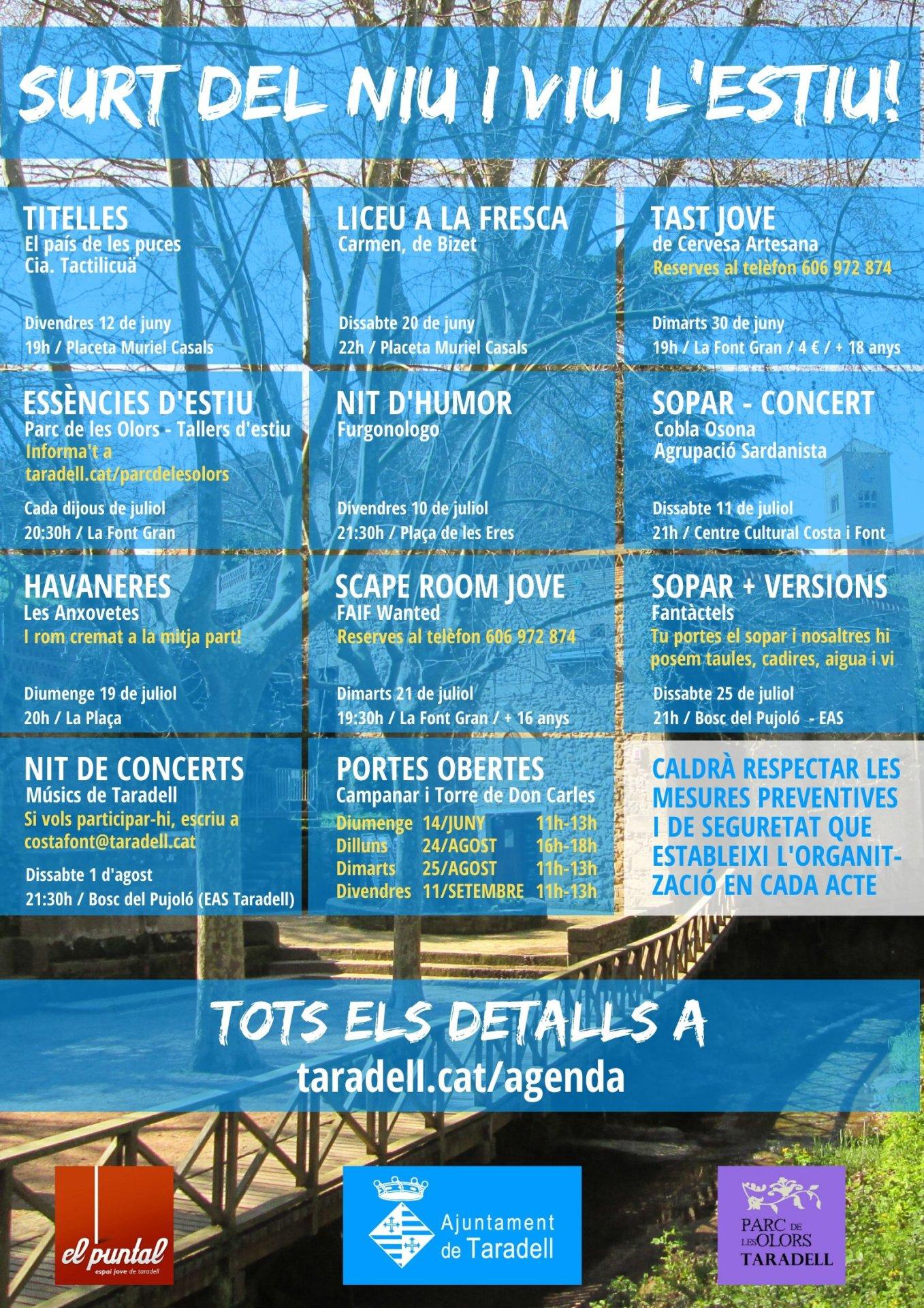 Surt del Niu i viu l'estiu! Cartell i programa dels actes culturals els vespres d'estiu de 2020 a Taradell.